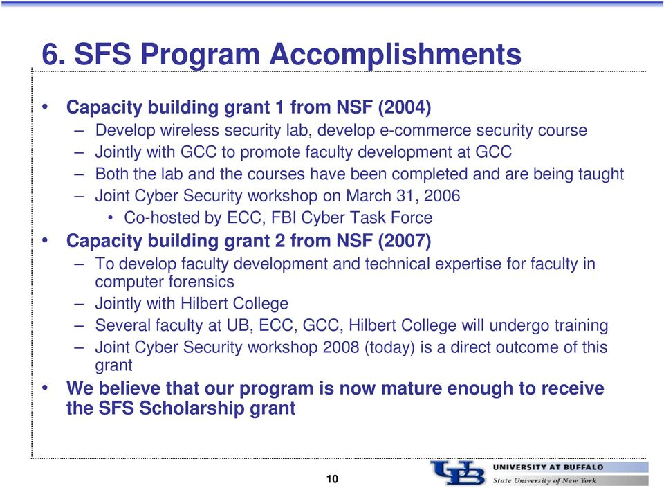 grant 2 from NSF (2007) To develop faculty development and technical expertise for faculty in computer forensics Jointly with Hilbert College Several faculty at UB, ECC, GCC, Hilbert