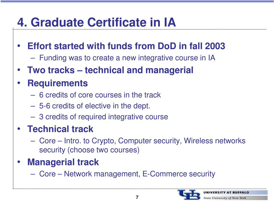 credits of elective in the dept. 3 credits of required integrative course Technical track Core Intro.