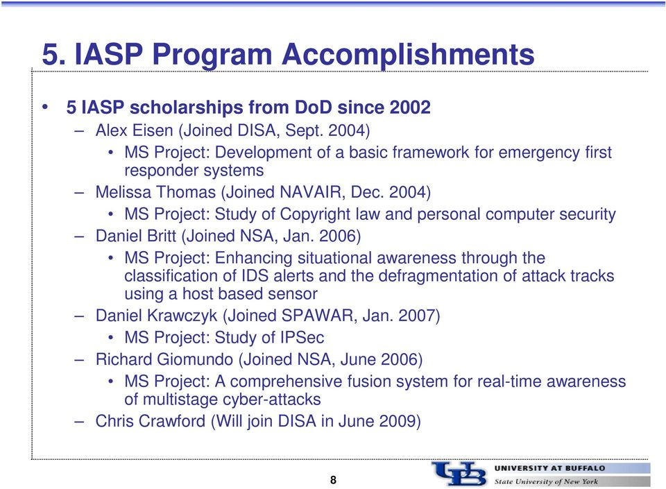 2004) MS Project: Study of Copyright law and personal computer security Daniel Britt (Joined NSA, Jan.