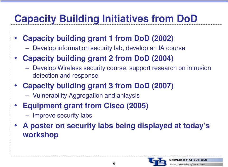 intrusion detection and response Capacity building grant 3 from DoD (2007) Vulnerability Aggregation and anlaysis