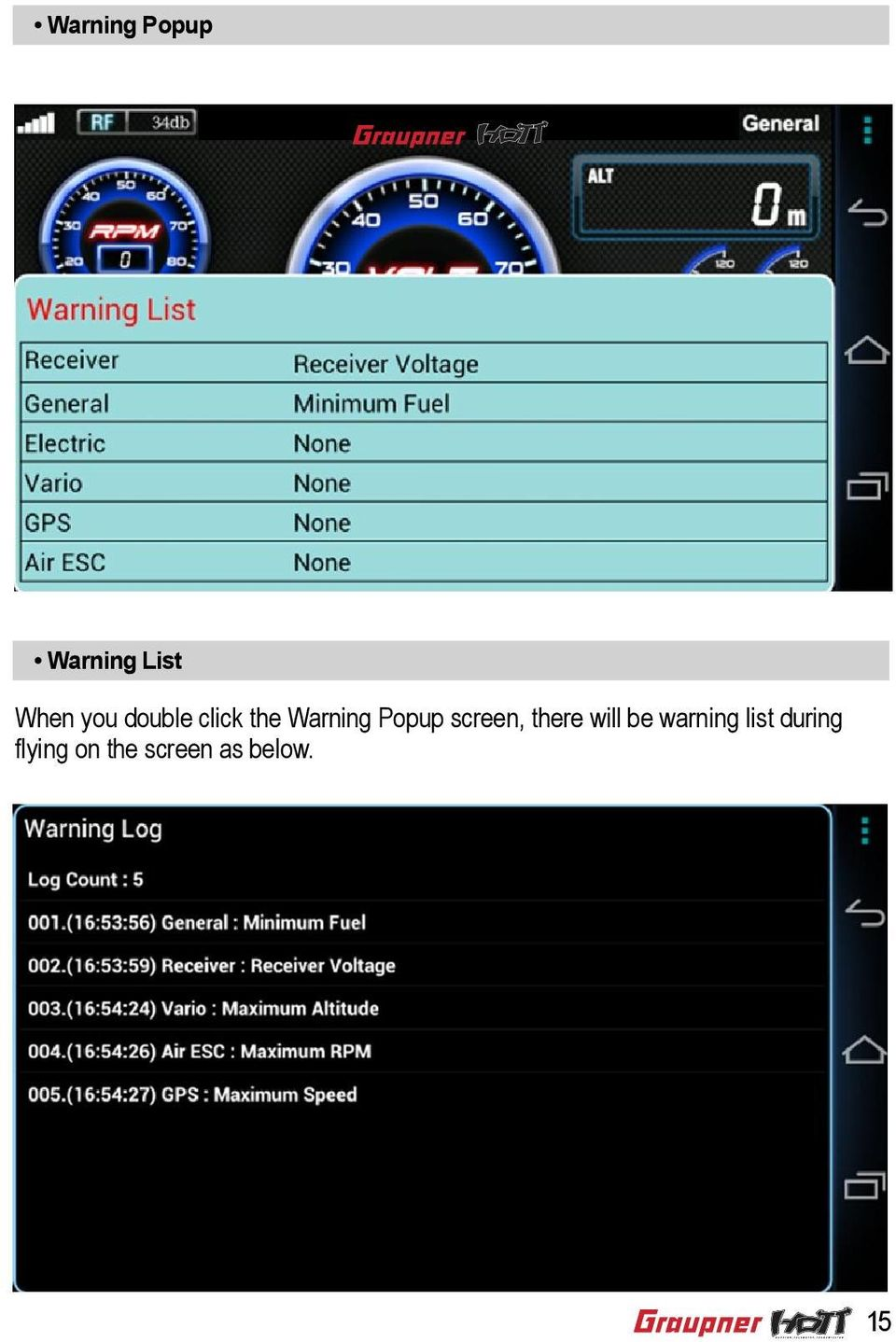 screen, there will be warning list