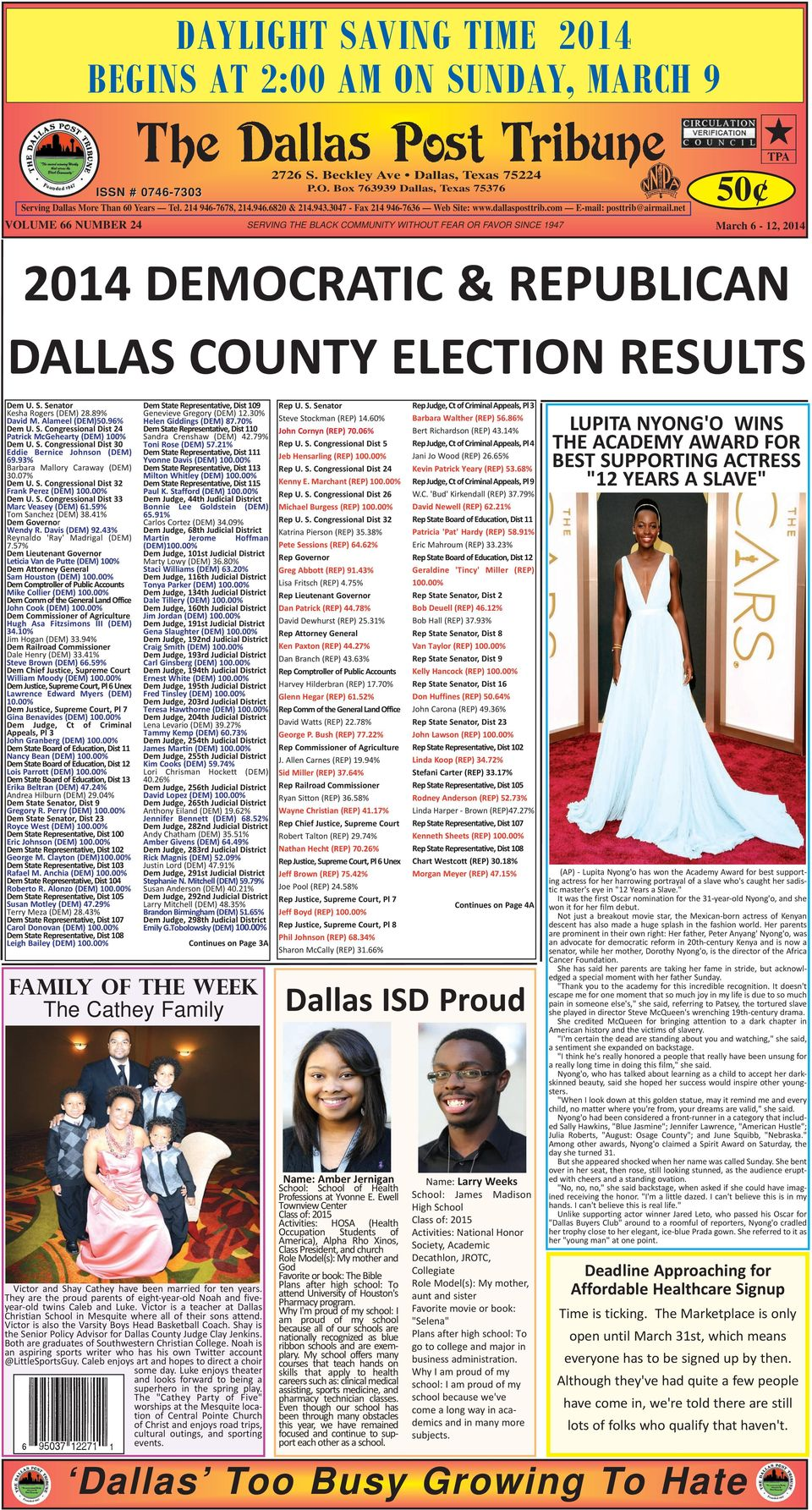net VOLUME 66 NUMBER 24 SERVING THE BLACK COMMUNITY WITHOUT FEAR OR FAVOR SINCE 1947 March 6-12, 2014 2014 DEMOCRATIC & REPUBLICAN DALLAS COUNTY ELECTION RESULTS Dem U. S. Senator Kesha Rogers (DEM) 28.