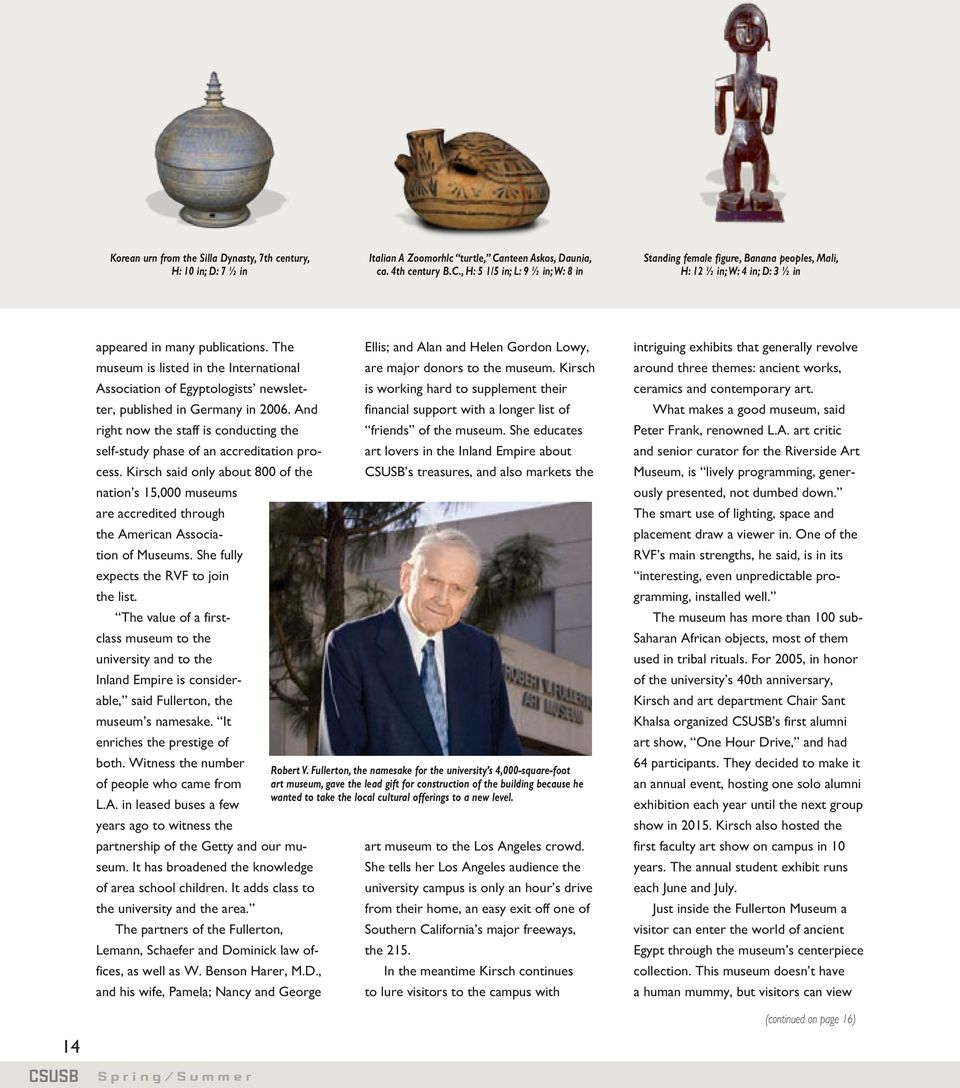 The Ellis; and Alan and Helen Gordon Lowy, museum is listed in the International are major donors to the museum. Kirsch Association of Egyptologists newsletter, published in Germany in 2006.