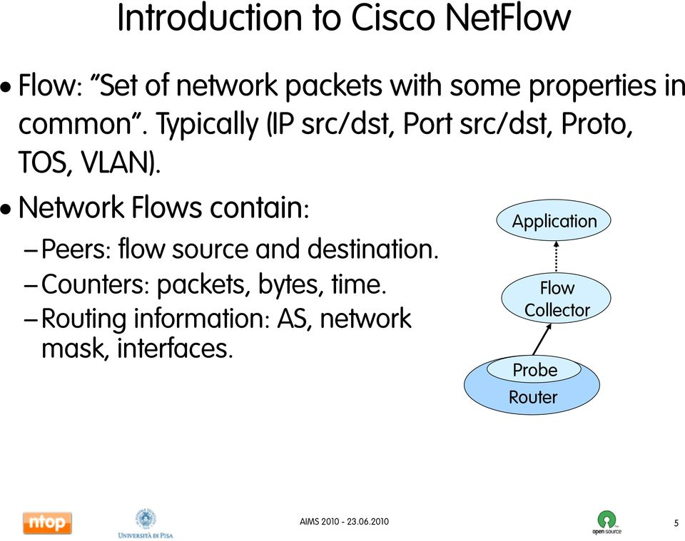 Network Flows contain: Peers: flow source and destination.