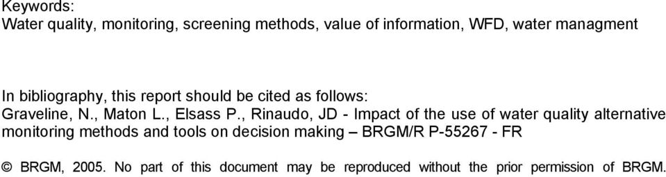 , Rinaudo, JD - Impact of the use of water quality alternative monitoring methods and tools on decision