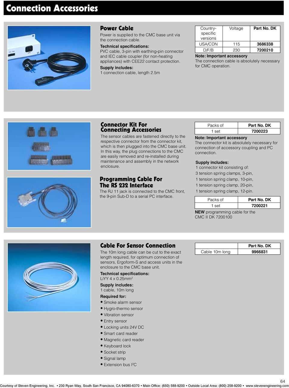 5m Country- Voltage specific versions USA/CDN 115 3686338 D/F/B 230 7200210 Note: Important accessory The connection cable is absolutely necessary for CMC operation.