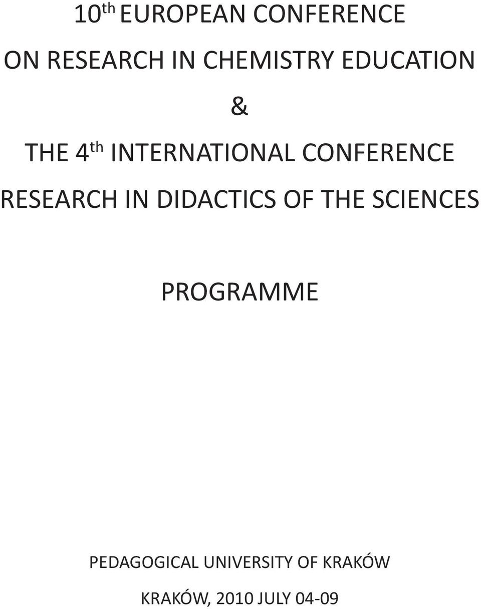 RESEARCH IN DIDACTICS OF THE SCIENCES PROGRAMME