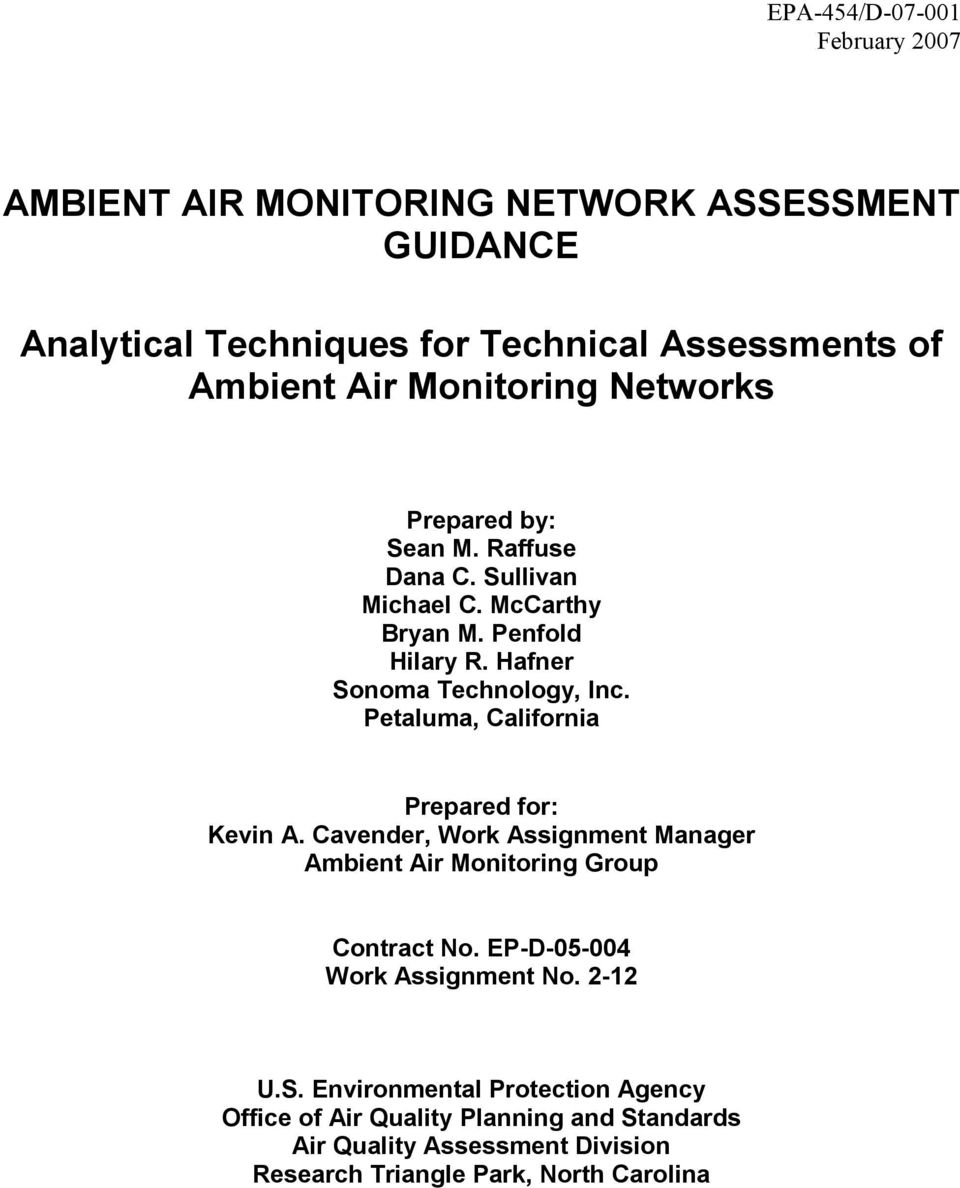 Petaluma, California Prepared for: Kevin A. Cavender, Work Assignment Manager Ambient Air Monitoring Group Contract No.