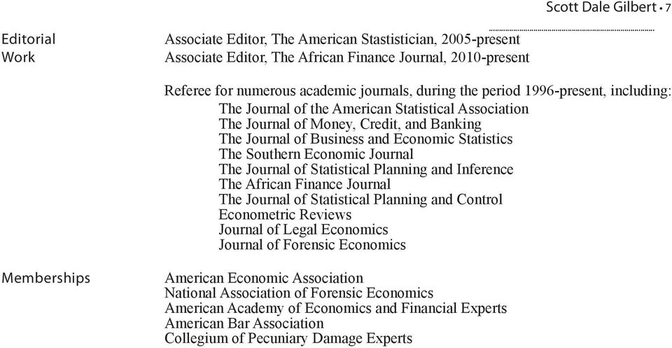 Economic Journal The Journal of Statistical Planning and Inference The African Finance Journal The Journal of Statistical Planning and Control Econometric Reviews Journal of Legal Economics Journal