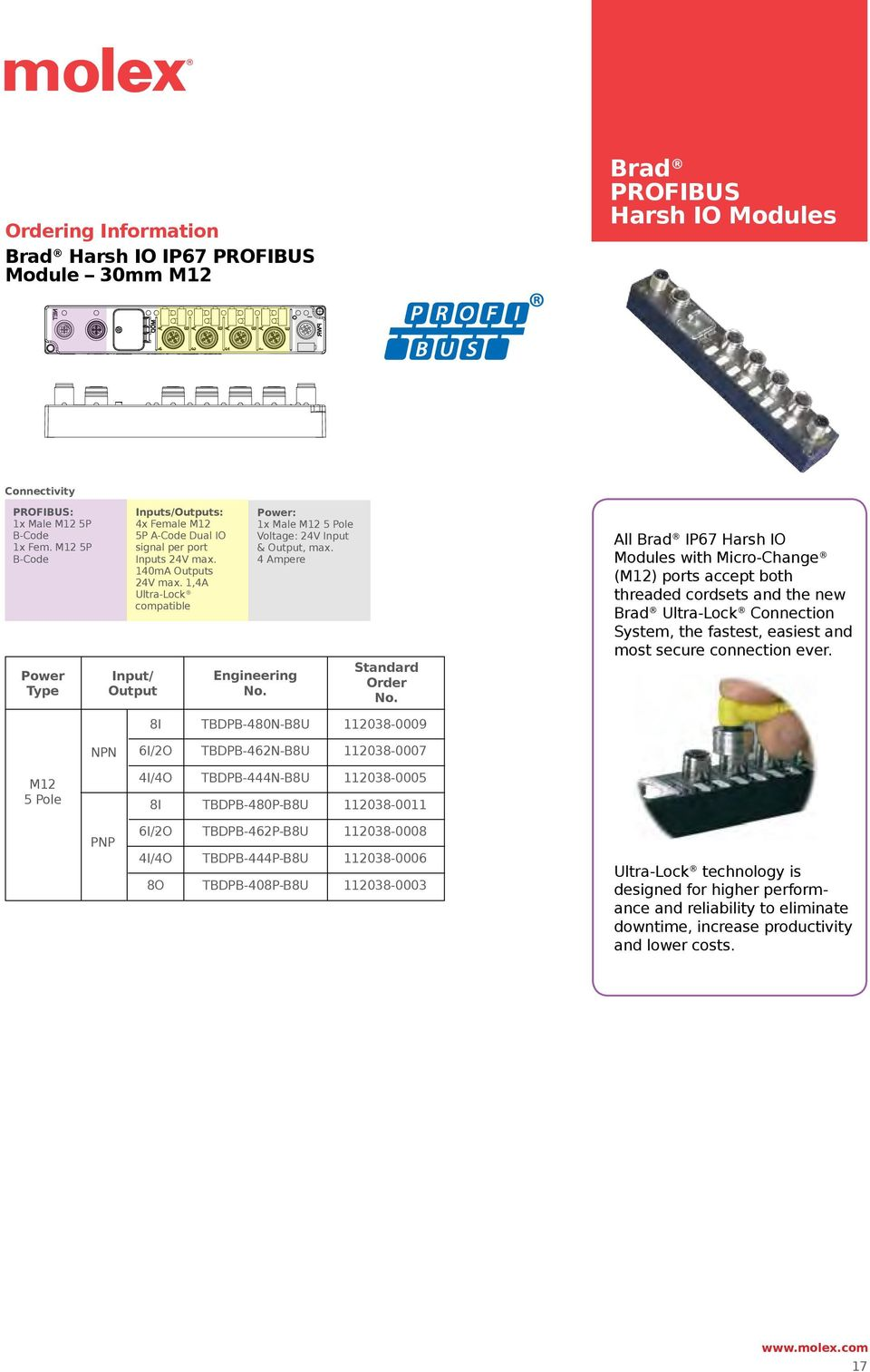 1,A Ultra-Lock compatible Input/ Output Power: 1x Male M12 Pole Voltage: 2V Input & Output, max.