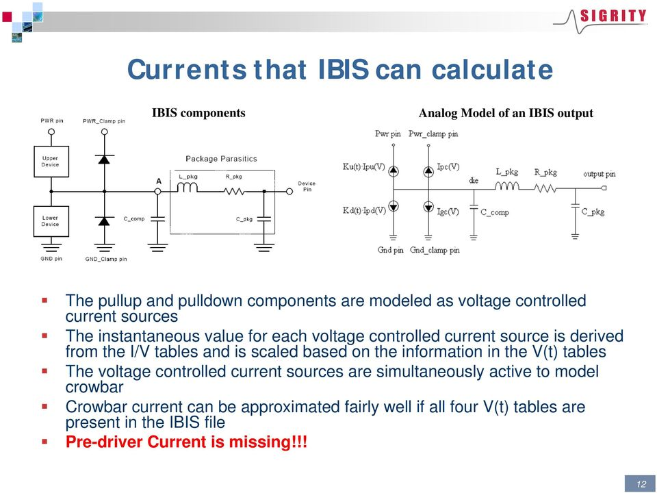 and is scaled based on the information in the V(t) tables The voltage controlled current sources are simultaneously active to model
