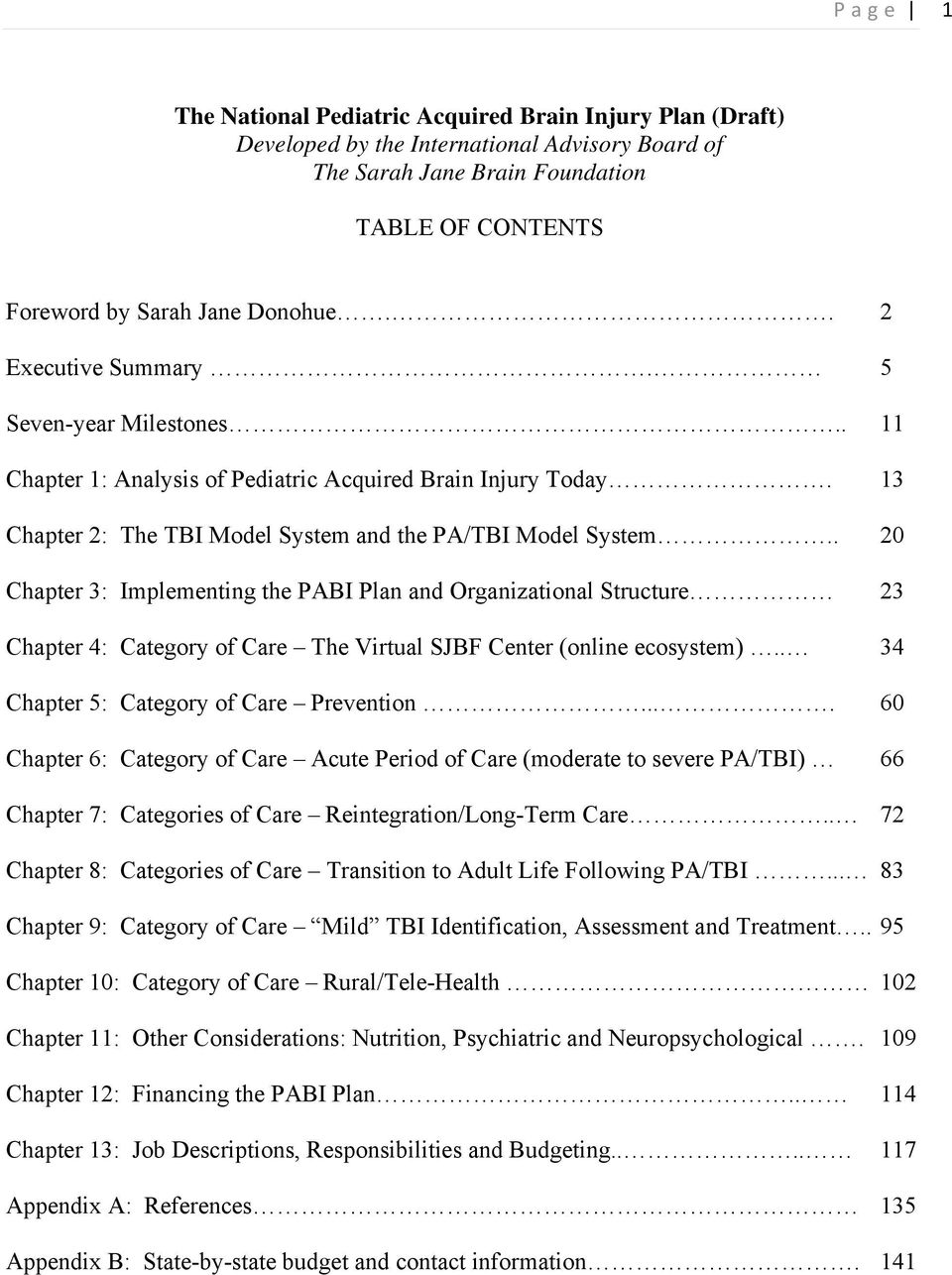 . 20 Chapter 3: Implementing the PABI Plan and Organizational Structure 23 Chapter 4: Category of Care The Virtual SJBF Center (online ecosystem).. 34 Chapter 5: Category of Care Prevention.