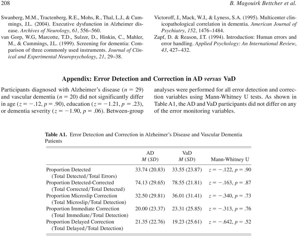 Journal of Clinical and Experimental Neuropsychology, 21, 29 38. Victoroff, J., Mack, W.J., & Lyness, S.A. (1995). Multicenter clinicopathological correlation in dementia.
