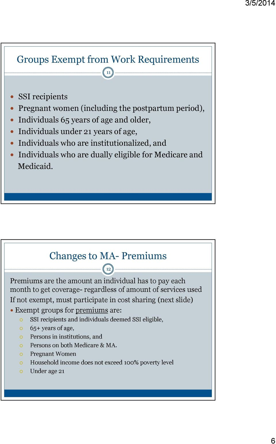 Changes to MA- Premiums Premiums are the amount an individual has to pay each month to get coverage- regardless of amount of services used If not exempt, must participate in cost