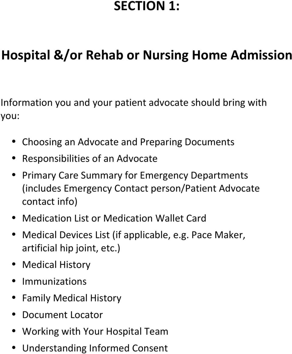 Responsibilities*of*an*Advocate* Primary*Care*Summary*for*Emergency*Departments* (includes*emergency*contact*person/patient*advocate* contact*info)*