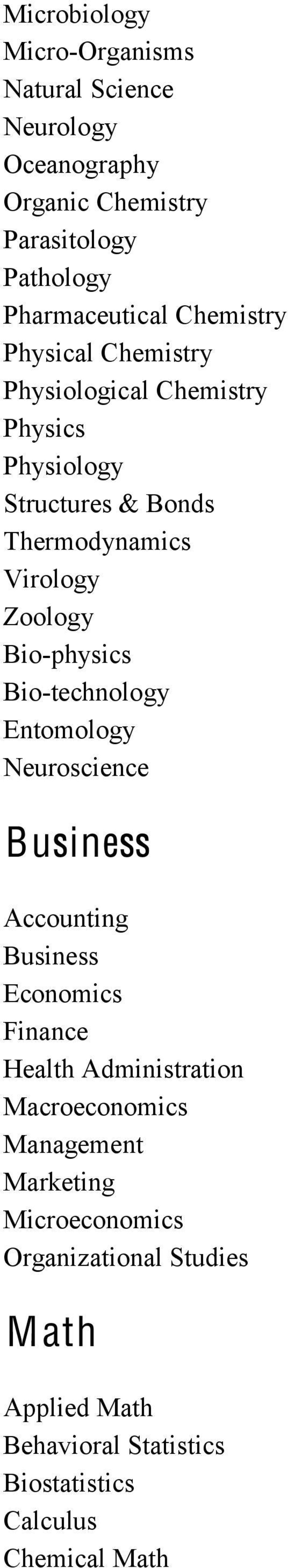 Bio-physics Bio-technology Entomology Neuroscience Business Accounting Business Economics Finance Health Administration