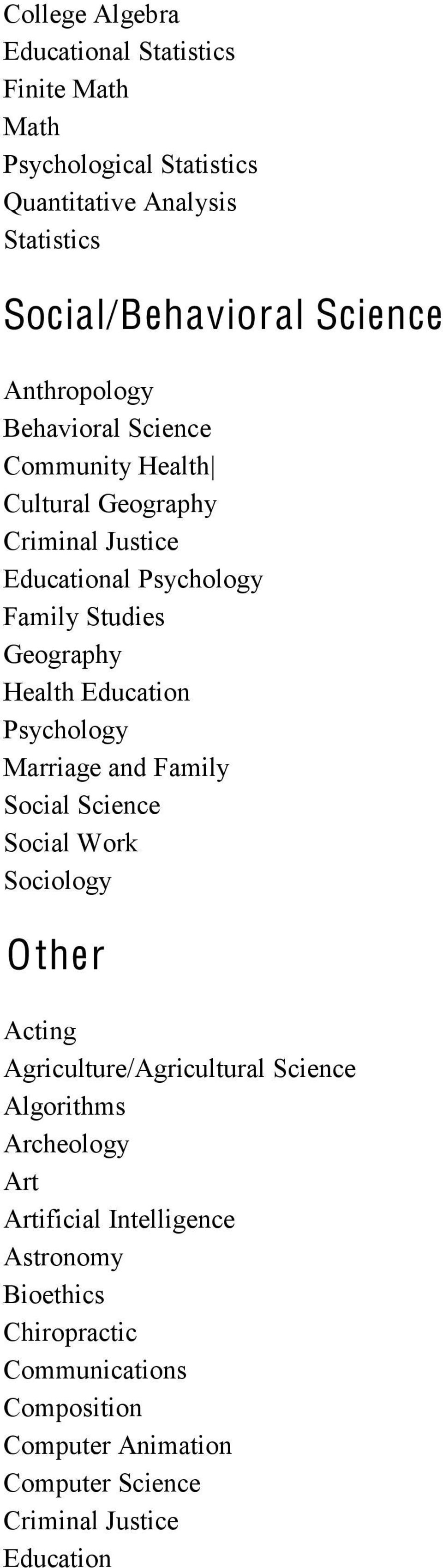 Education Psychology Marriage and Family Social Science Social Work Sociology Other Acting Agriculture/Agricultural Science Algorithms
