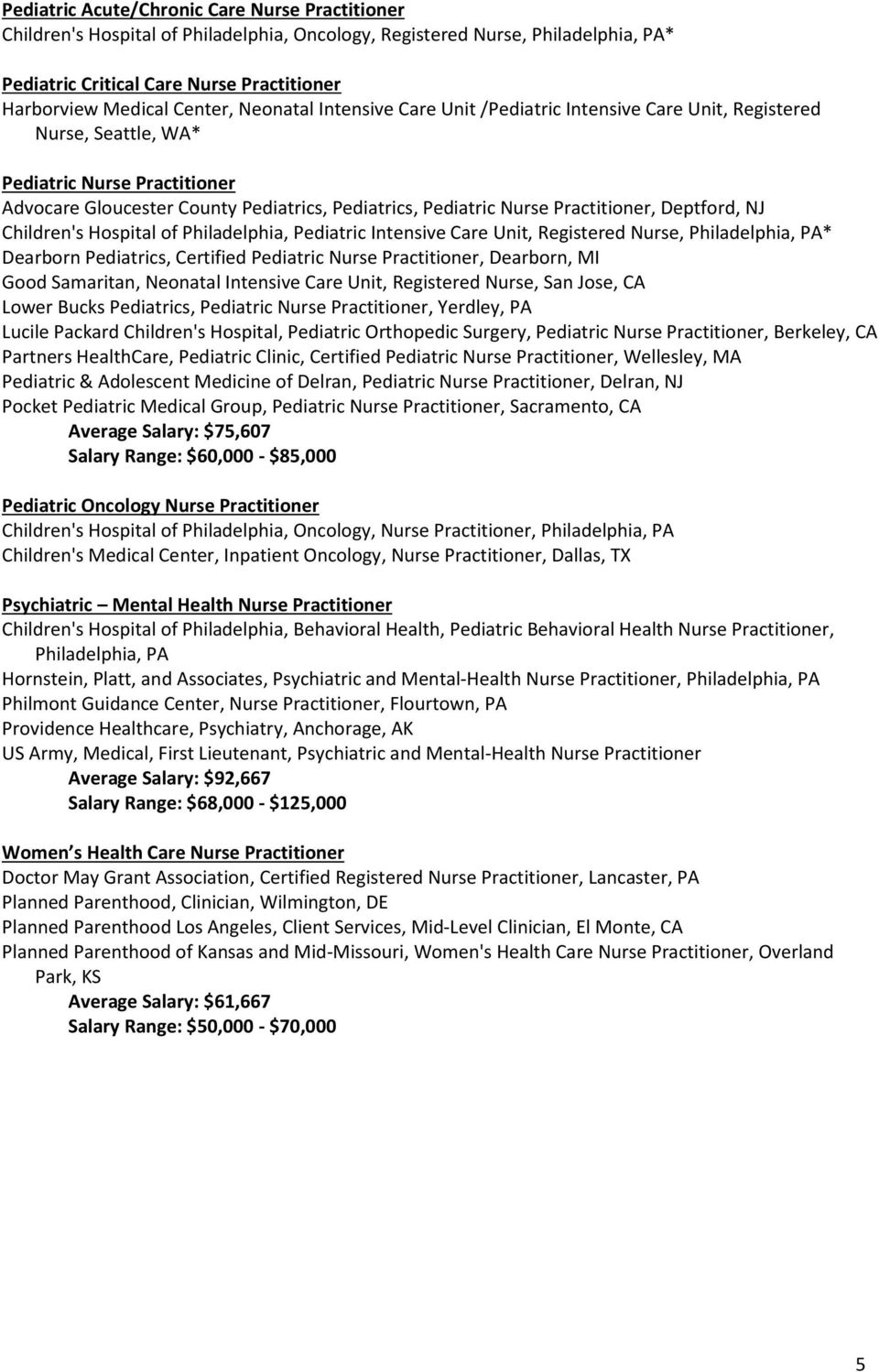 Practitioner, Deptford, NJ Children's Hospital of Philadelphia, Pediatric Intensive Care Unit, Registered Nurse, Philadelphia, PA* Dearborn Pediatrics, Certified Pediatric Nurse Practitioner,