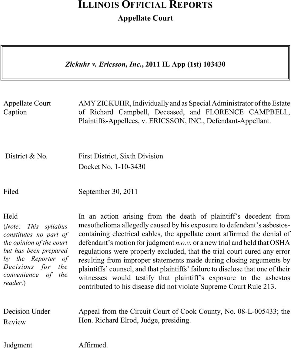 ERICSSON, INC., Defendant-Appellant. District & No. First District, Sixth Division Docket No.