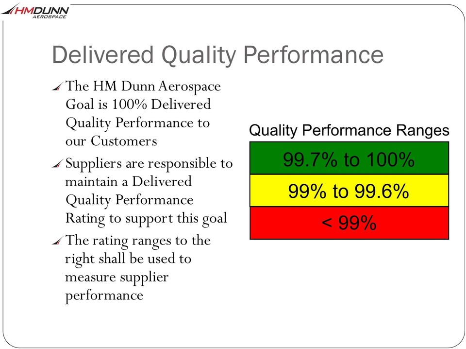 responsible to maintain a Delivered Quality Performance Rating to