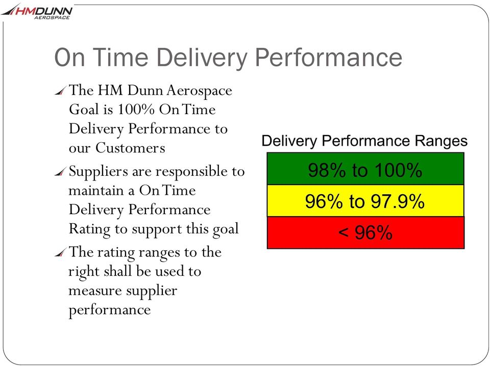 to maintain a On Time Delivery Performance Rating to support this goal