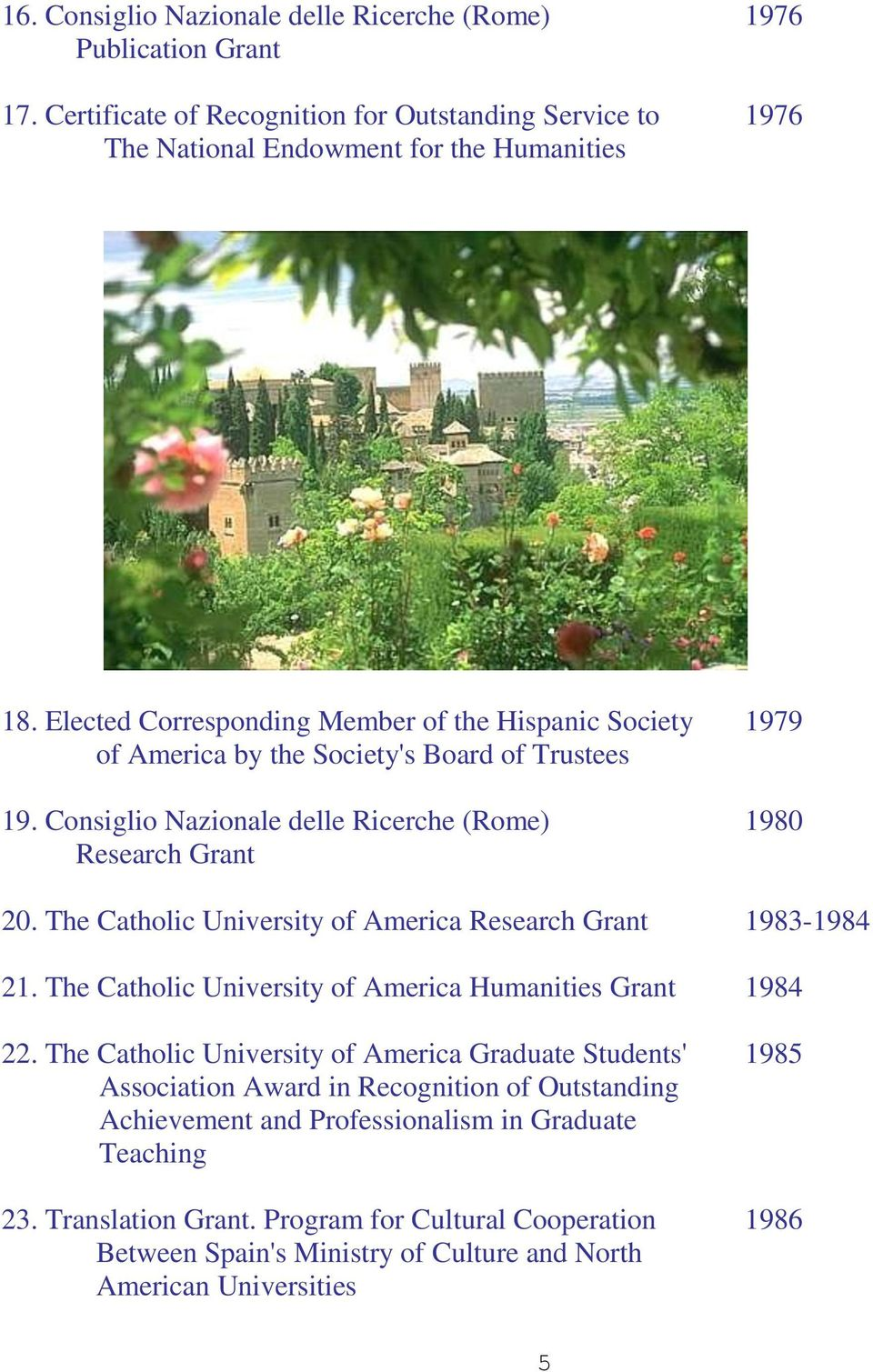 The Catholic University of America Research Grant 1983-1984 21. The Catholic University of America Humanities Grant 1984 22.