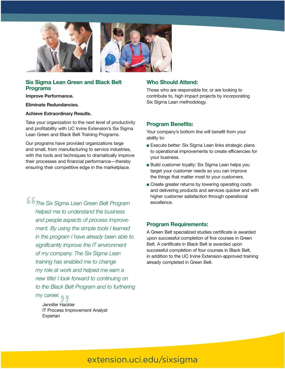 Education And Business Six Sigma Lean Green And Black Belt Programs