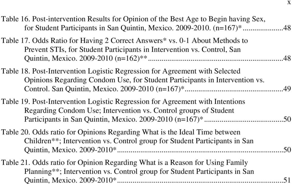 Post-Intervention Logistic Regression for Agreement with Selected Opinions Regarding Condom Use, for Student Participants in Intervention vs. Control. San Quintin, Mexico. 2009-2010 (n=167)*.