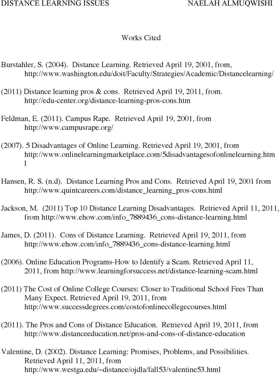 5 Disadvantages of Online Learning. Retrieved April 19, 2001, from http://www.onlinelearningmarketplace.com/5disadvantagesofonlinelearning.htm l Hansen, R. S. (n.d). Distance Learning Pros and Cons.