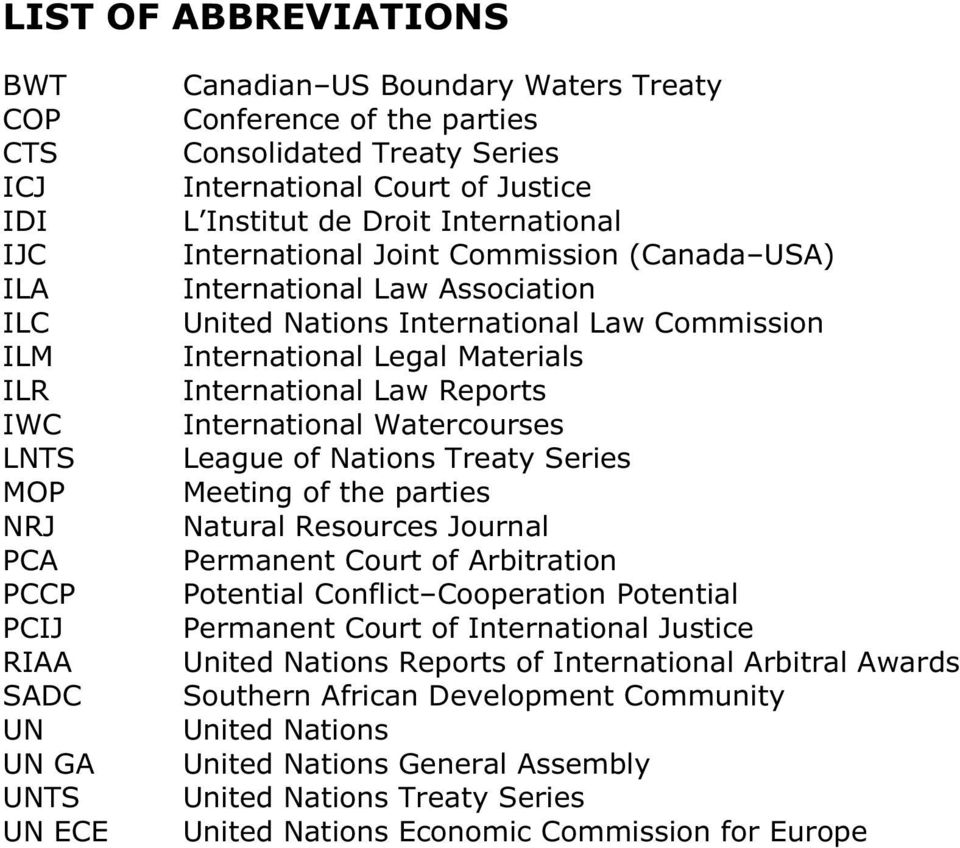 International Legal Materials International Law Reports International Watercourses League of Nations Treaty Series Meeting of the parties Natural Resources Journal Permanent Court of Arbitration