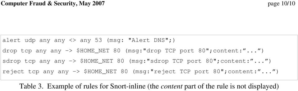 ".. ) sdrop tcp any any -> $HOME_NET 80 (msg:""sdrop TCP port 80"";content:."