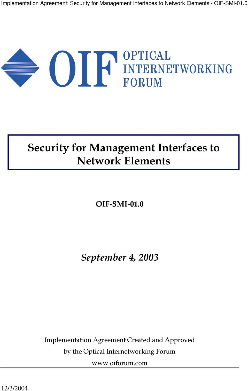 0 Security for Management Interfaces to Network Elements OIF-SMI-01.