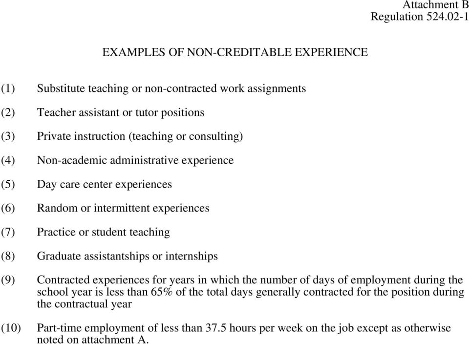 Graduate assistantships or internships (9) Contracted experiences for years in which the number of days of employment during the school year is less than 65% of the total days
