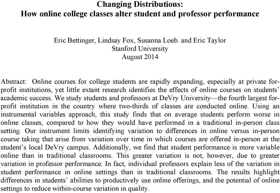 identifies the effects of online courses on students academic success.