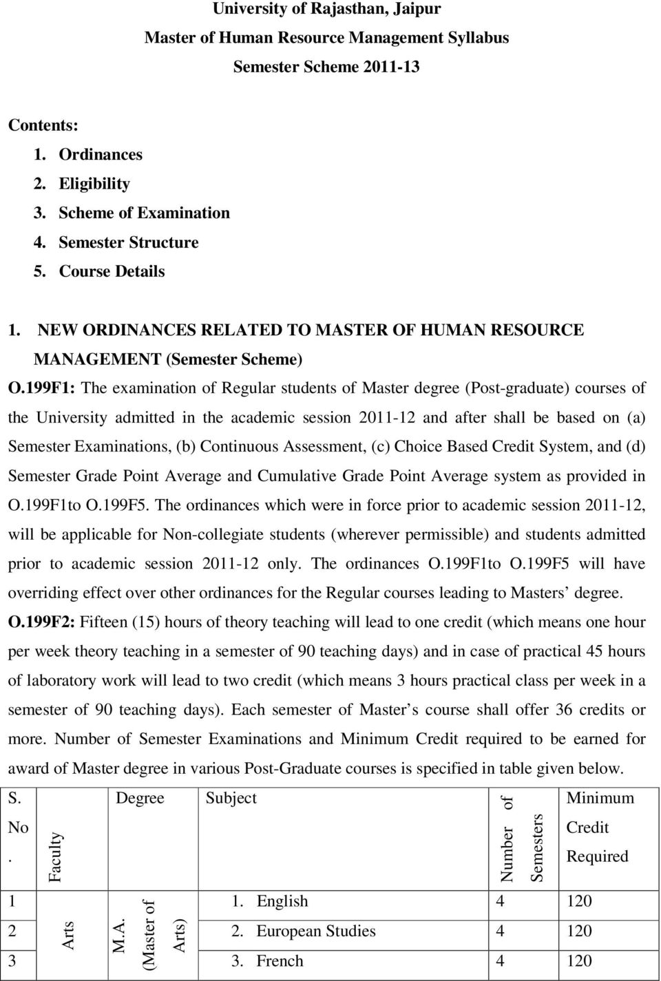199F1: The examination of Regular students of Master degree (Post-graduate) courses of the University admitted in the academic session 2011-12 and after shall be based on (a) Semester Examinations,