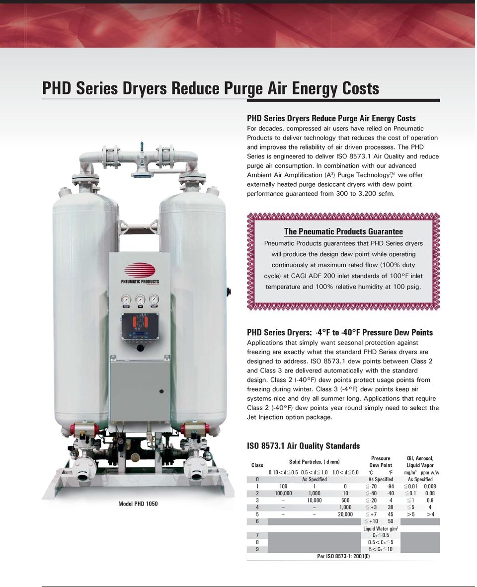 In combination with our advanced Ambient Air Amplification (A 3 ) Purge Technology TM, we offer externally heated purge desiccant dryers with dew point performance guaranteed from 300 to 3,200 scfm.