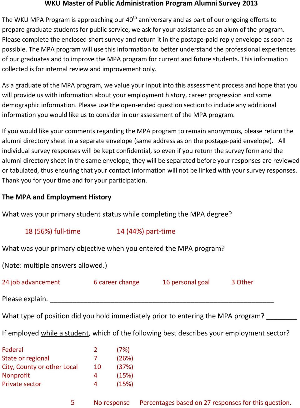 The MPA program will use this information to better understand the professional experiences of our graduates and to improve the MPA program for current and future students.