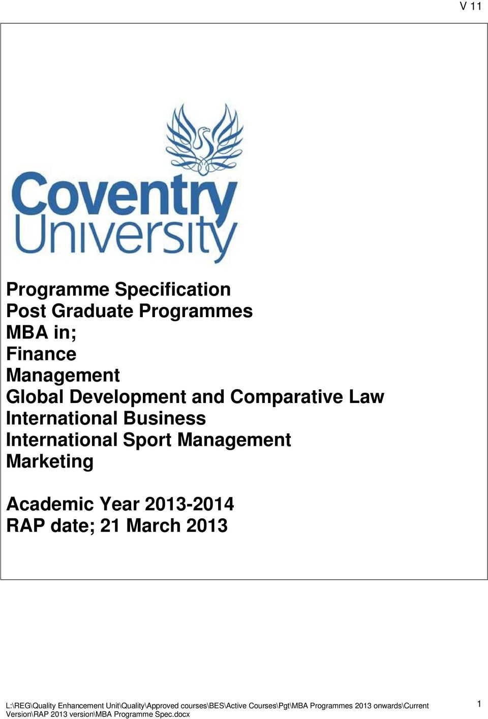Law International Business International Sport Management