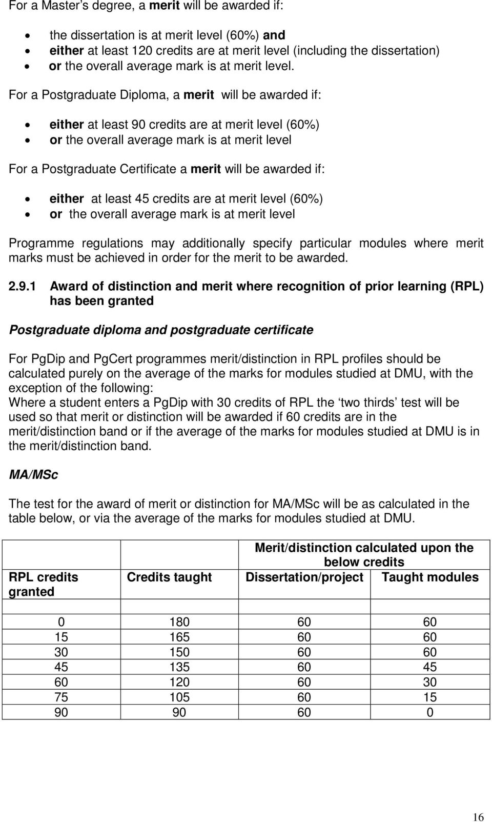 For a Postgraduate Diploma, a merit will be awarded if: either at least 90 credits are at merit level (60%) or the overall average mark is at merit level For a Postgraduate Certificate a merit will