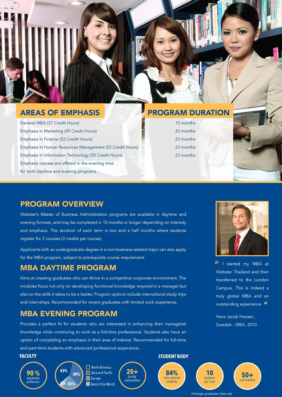PROGRAM DURATION 15 months 20 months 23 months 23 months 23 months PROGRAM OVERVIEW Webster s Master of Business Administration programs are available in daytime and evening formats, and may be