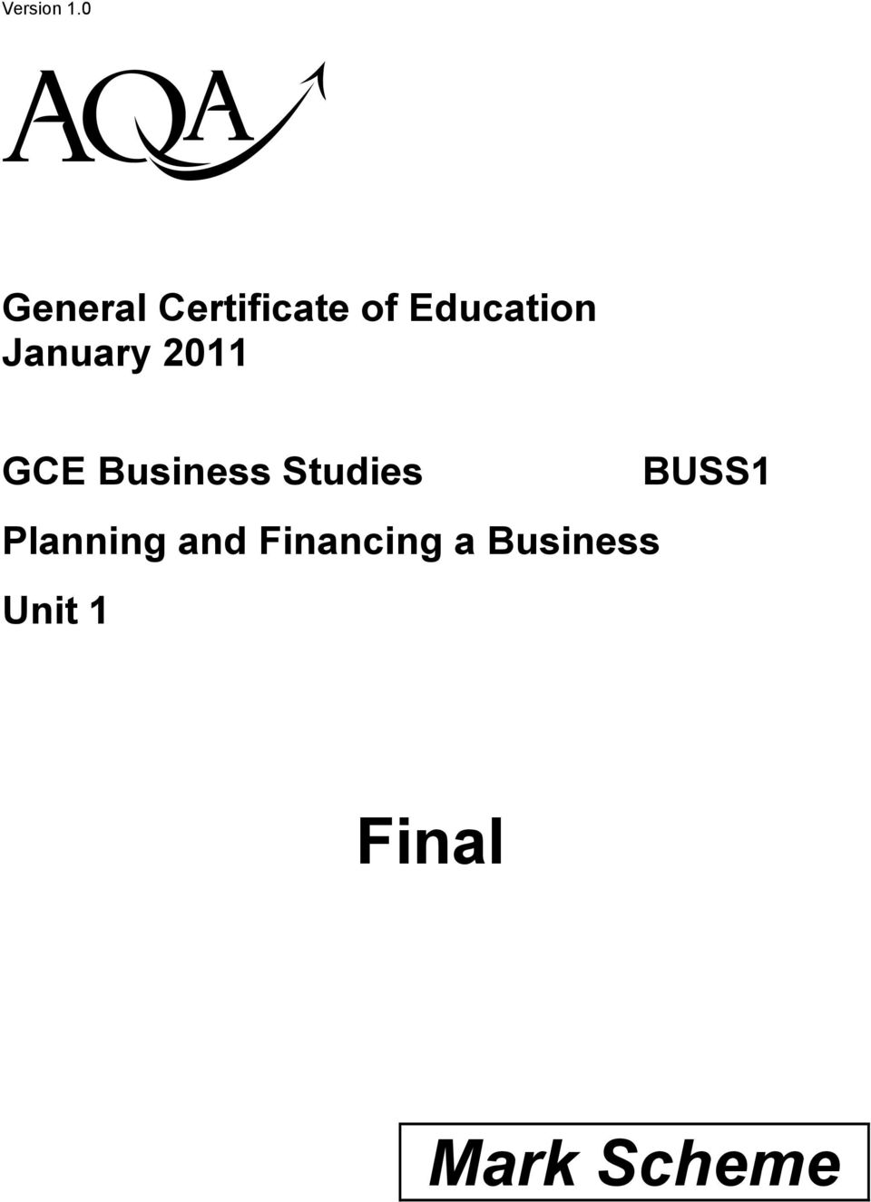 January 2011 GCE Business Studies