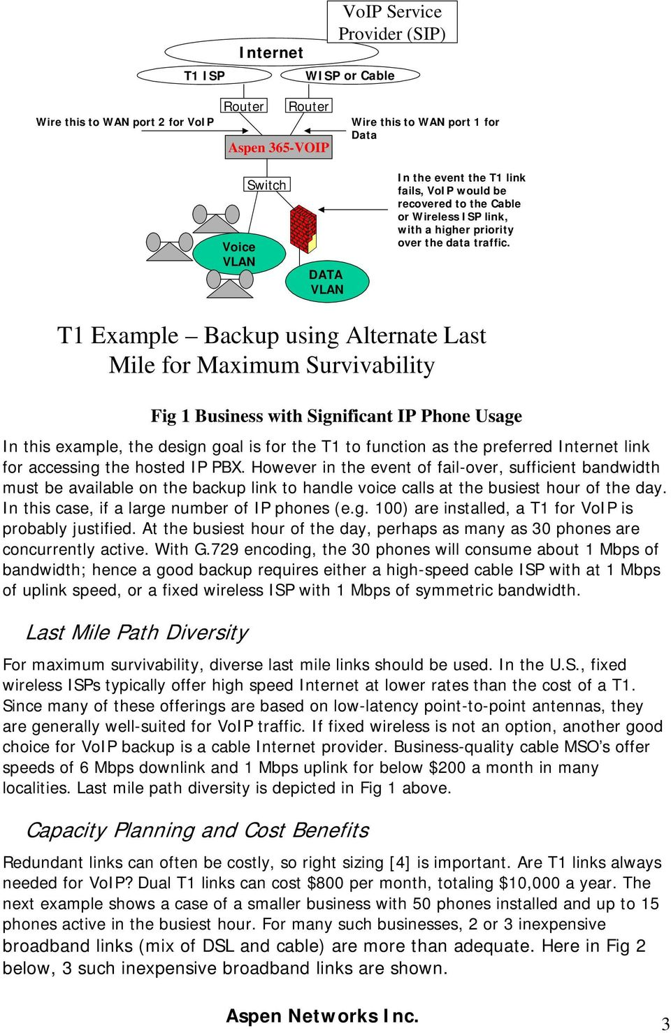 T1 Example Backup using Alternate Last Mile for Maximum Survivability Fig 1 Business with Significant IP Phone Usage In this example, the design goal is for the T1 to function as the preferred