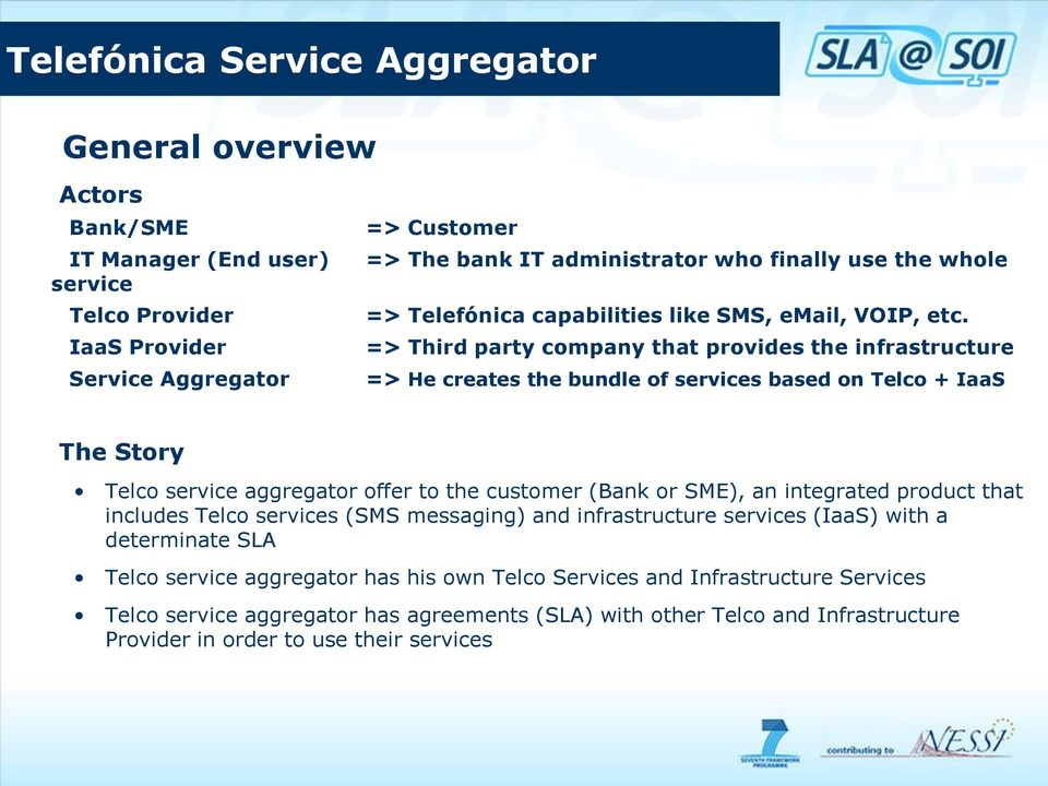 IaaS Provider => Third party company that provides the infrastructure Service Aggregator => He creates the bundle of services based on Telco + IaaS The Story Telco service aggregator offer to