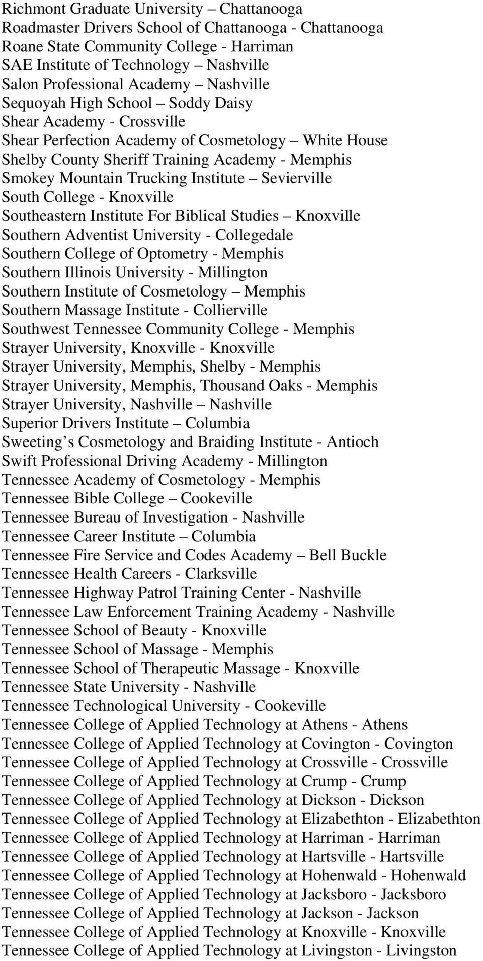 Trucking Institute Sevierville South College - Knoxville Southeastern Institute For Biblical Studies Knoxville Southern Adventist University - Collegedale Southern College of Optometry - Memphis