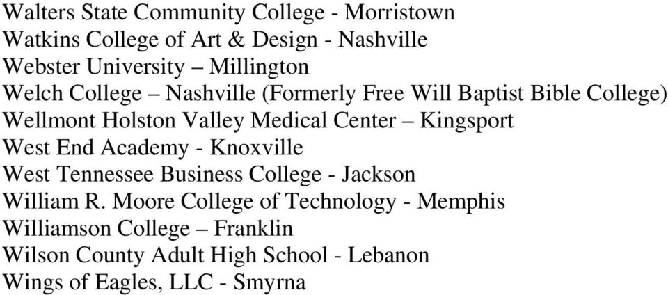 Center Kingsport West End Academy - Knoxville West Tennessee Business College - Jackson William R.