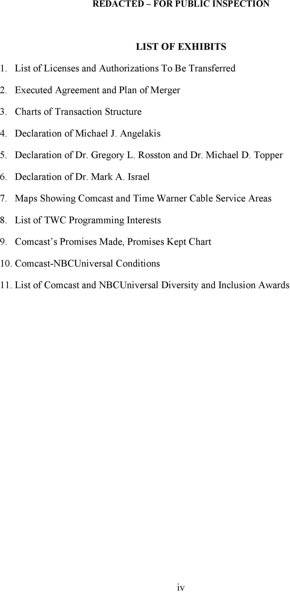 Topper 6. Declaration of Dr. Mark A. Israel 7. Maps Showing Comcast and Time Warner Cable Service Areas 8.