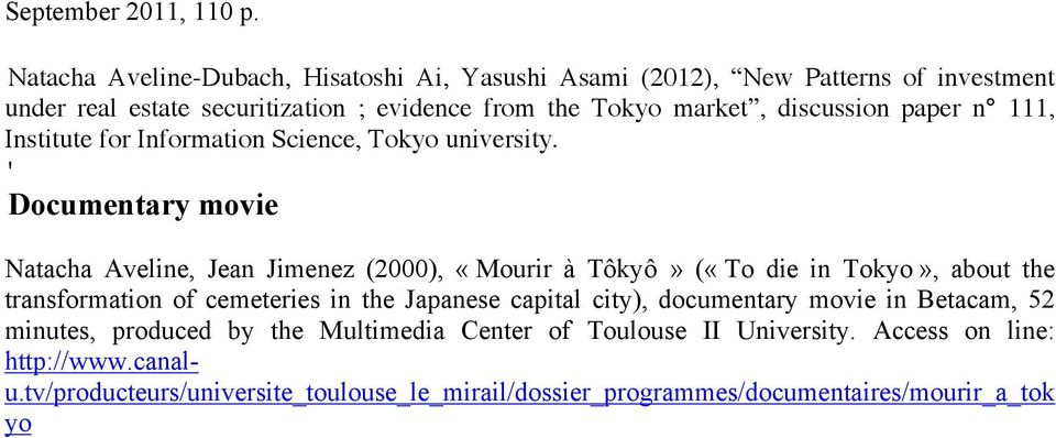 discussion paper n 111, Institute for Information Science, Tokyo university.