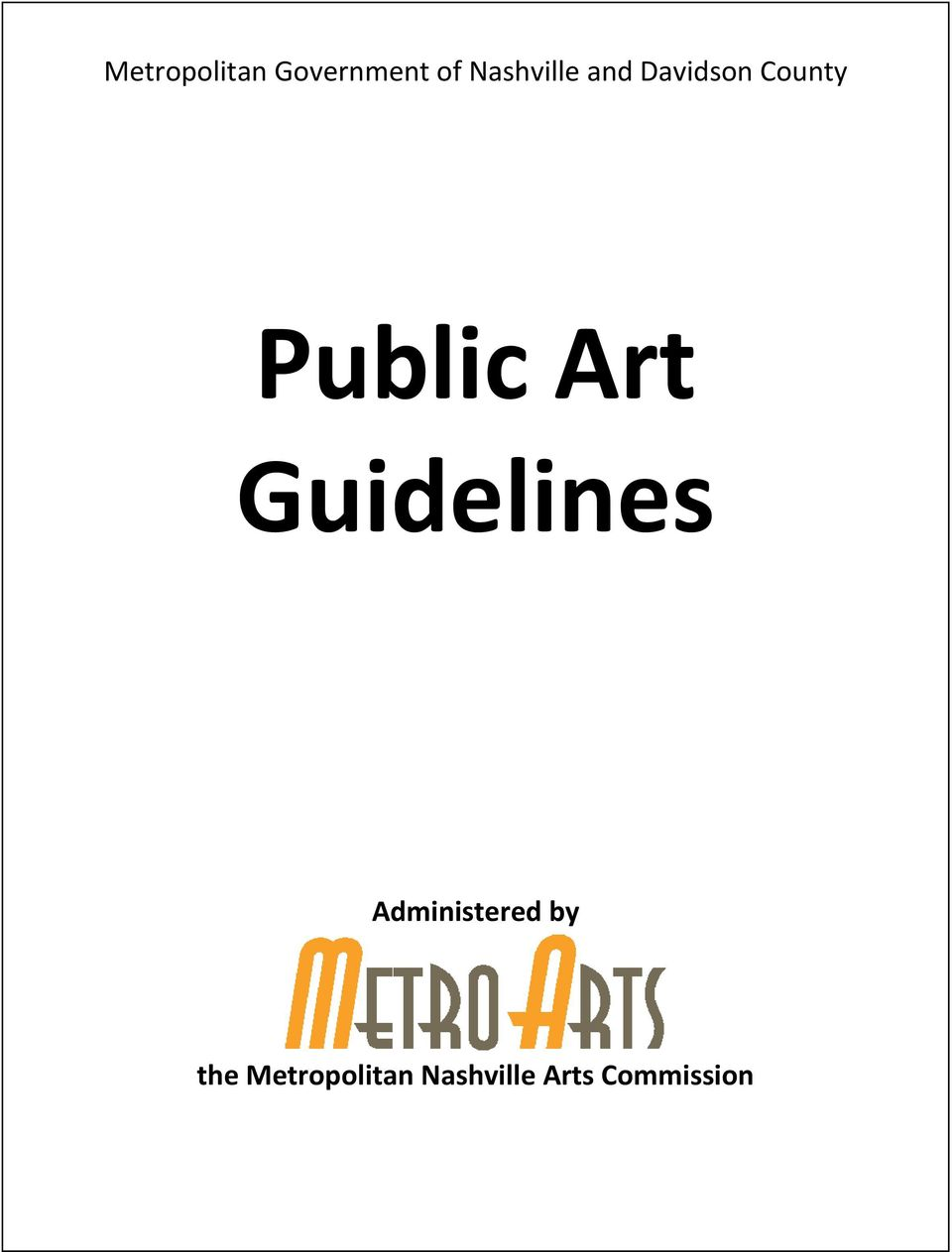 Public Art Guidelines Administered