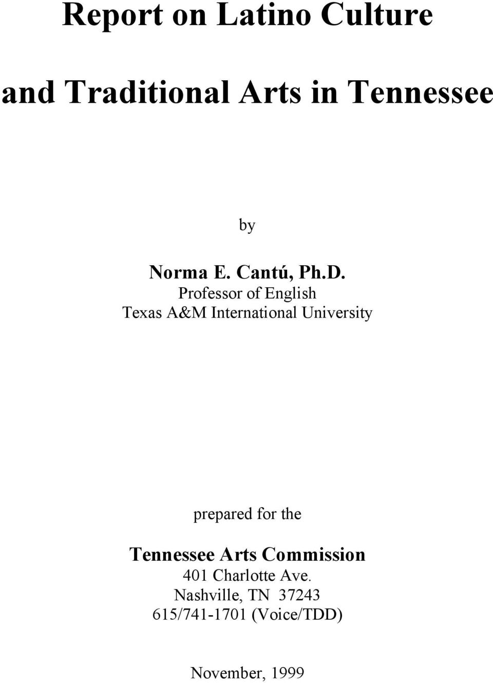 Professor of English Texas A&M International University prepared