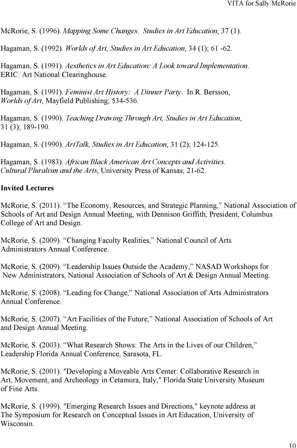Bersson, Worlds of Art, Mayfield Publishing; 534-536. Hagaman, S. (1990). Teaching Drawing Through Art, Studies in Art Education, 31 (3); 189-190. Hagaman, S. (1990). ArtTalk, Studies in Art Education, 31 (2); 124-125.
